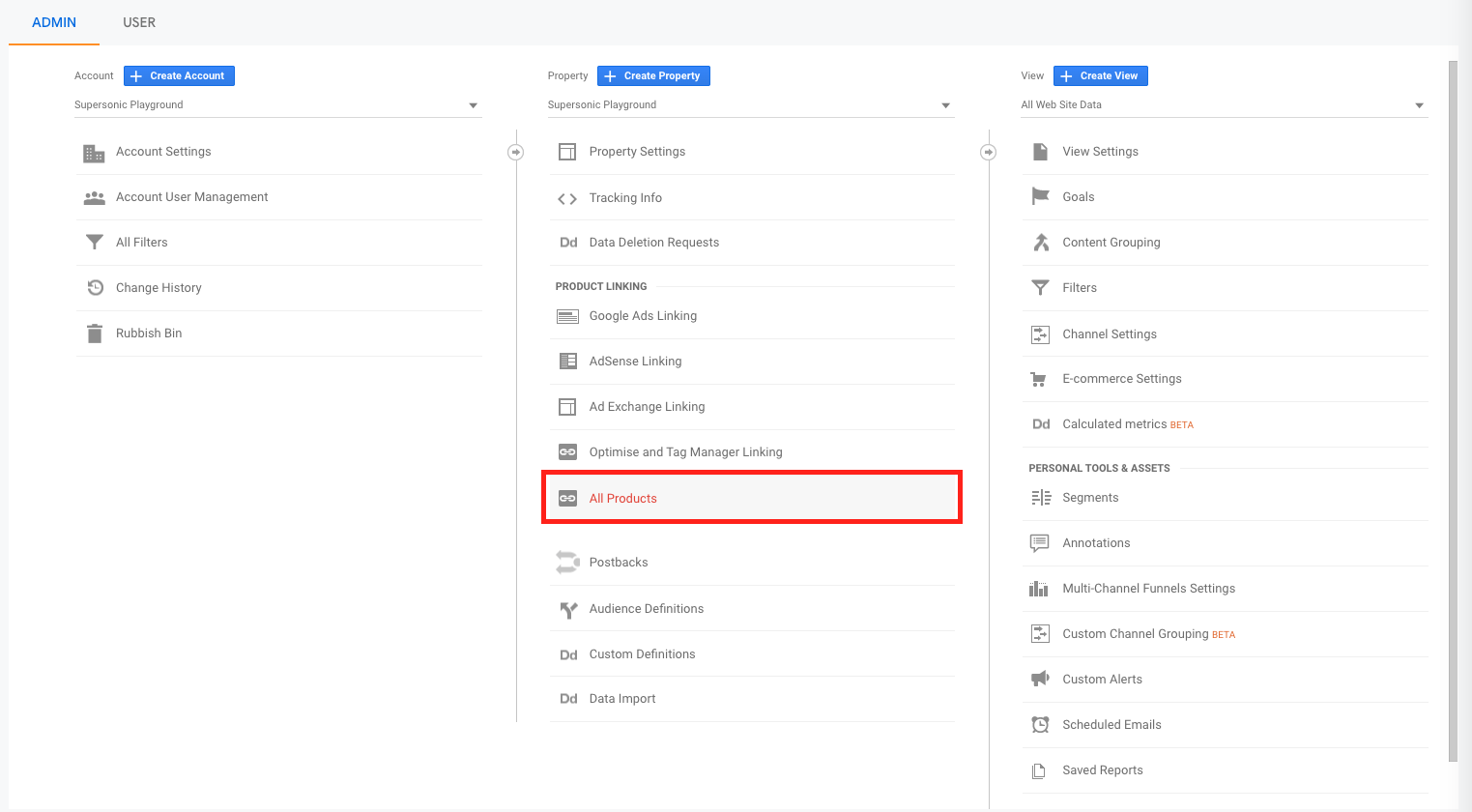 Linking GA with Search Console - Step 1